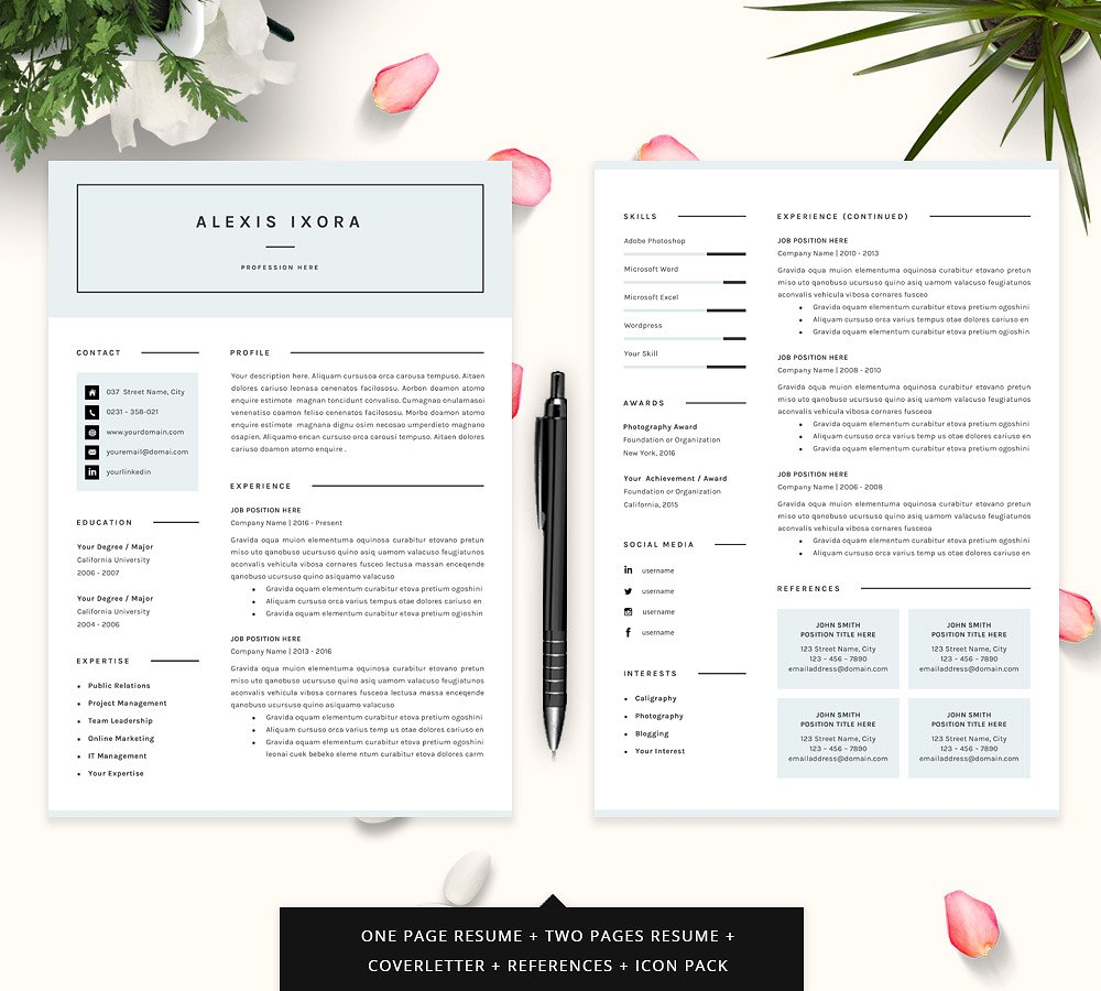 Perfect Alexis Ixora Resume Template U2013 $12 Pertaining To Resume Templates That Stand Out