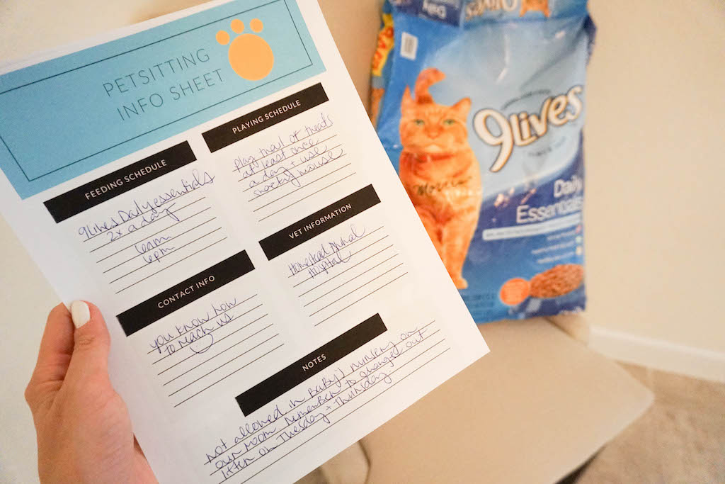 cat sitter checklist and info sheet